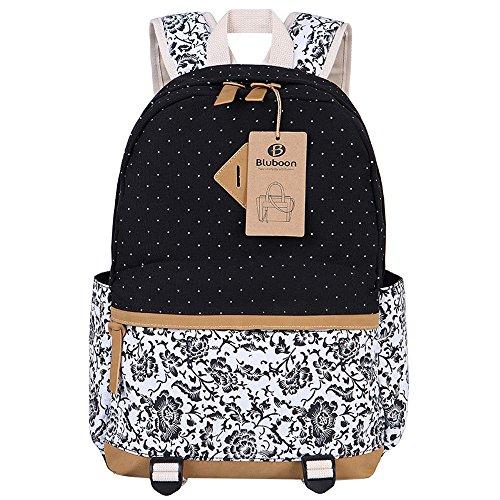 1082d52e66 Tela Zaino Scuola Casual Zainetto Ragazza/Donna Backpack Canvas (Nero)