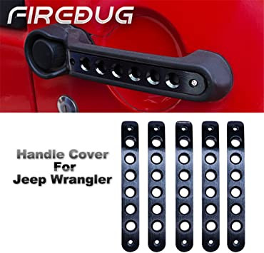 BLACK Door Handle Tailgate Aluminum Trim Insert for 2007-2018 Jeep Wrangler