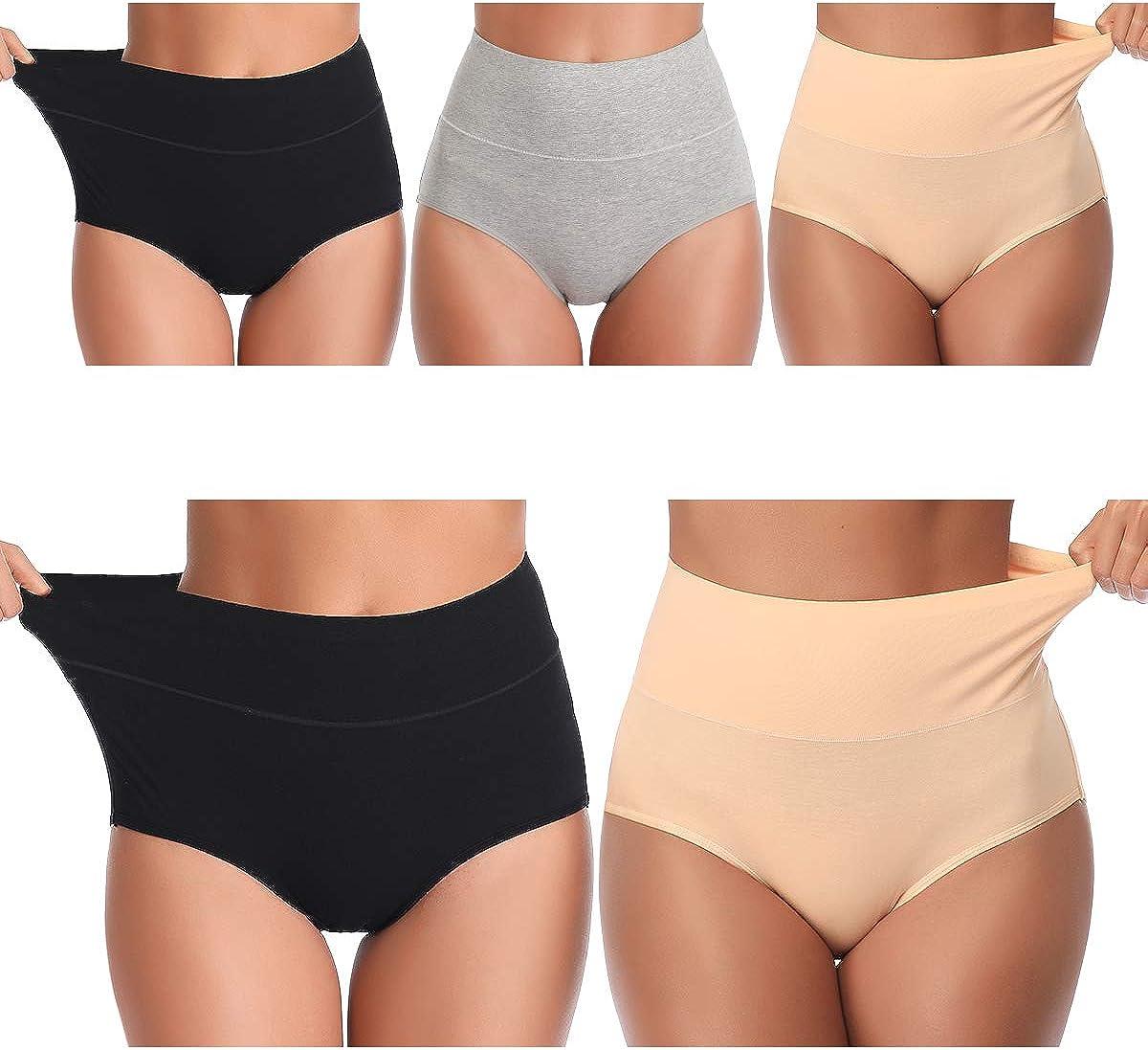 UMMISS Womens Underwear,Cotton High Waist Underwear for Women Full Coverage Soft Comfortable Briefs Panty Multipack