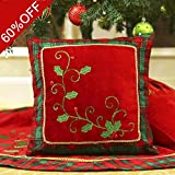 Decorative Pillow Cover - Valery Madelyn 16x16 Inch Traditional Holly Leaves Christmas Decorative Pillow Cover with Plaid Trim and Applique Jewelries,Themed with Tree Skirt(Not Included)