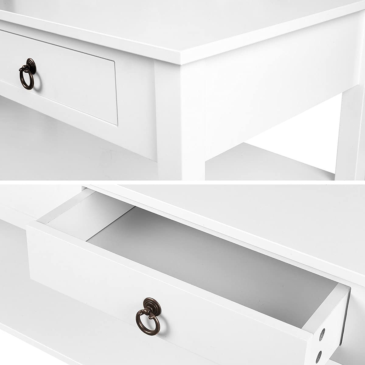 HOMFA Modern Coffee Table Console Desk with Storage and Shelf 2 Drawers Simple Stylish Collection Table Home Furniture White