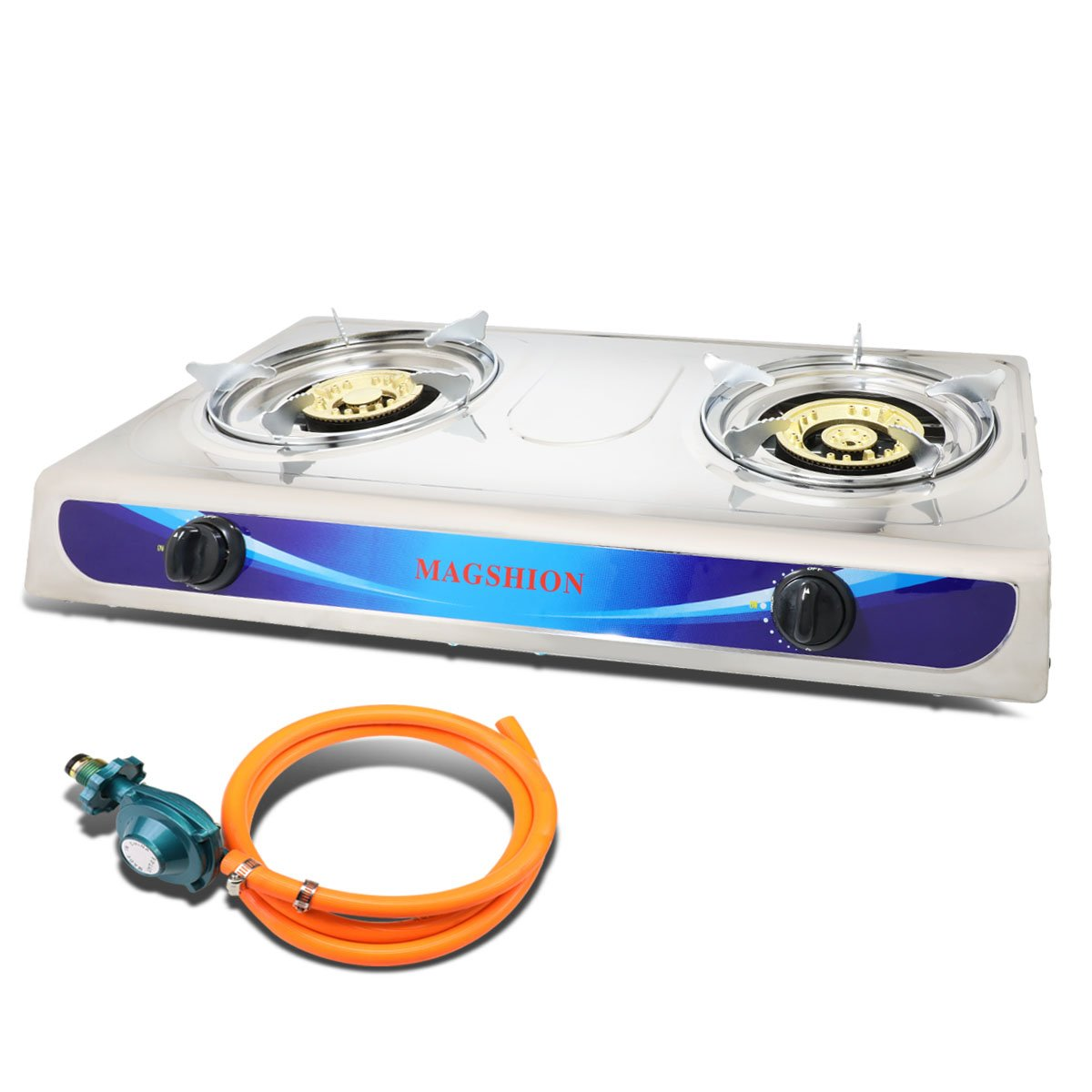Magshion Double Portable Propane Gas Stove Large Brass Burner With Hose & Regulator by Magshion