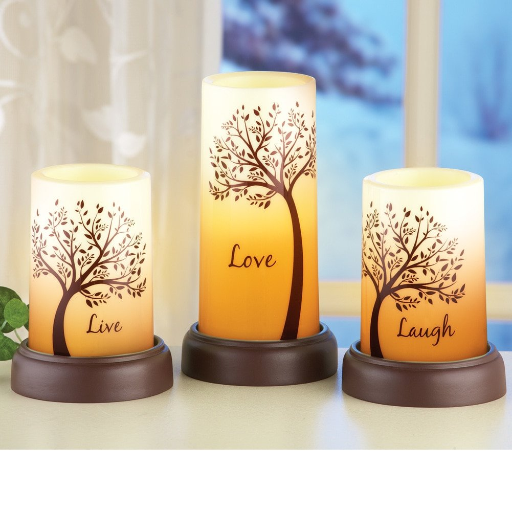 Amazon.com: LED Inspirational Pillar Candles - Set of 3: Home & Kitchen