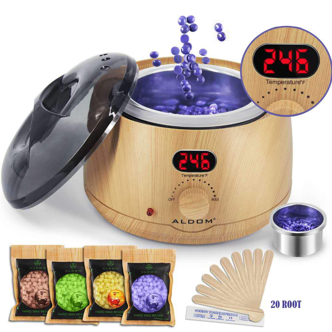 Aldom Hair Removal Wax Warmer - Waxing Kit - Electric Wax Pot with LCD Display Precision Temperature Control (110°F - 246°F), 4-Flavor Wax Beans and 20 Wax Applicator Stickers for Rapid Waxing