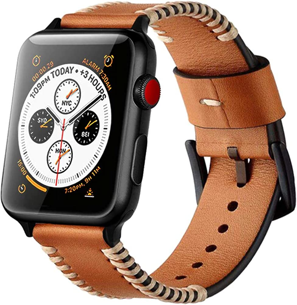Compatible with Apple Watch Bands 38mm 42mm 40mm 44mm Genuine Leather Black Stainless Steel Adapters Replacement Strap for iWatch Series 6/SE/5/4/3/2/1 for Men Sport Edition