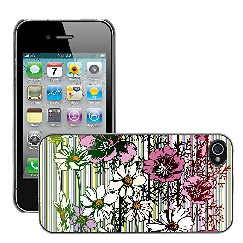 Premio Sottile Slim Cassa Custodia Case Cover Shell // V00002739 Seamless Flower // Apple iPhone 4 4S 4G