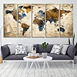 Modern Large Abstract GRUNGE Brown Dark Blue Wall Art World Map Canvas Print for Wall Decor - Wall Art Canvas Print for Home and Living Room Decor - Ready to Hang