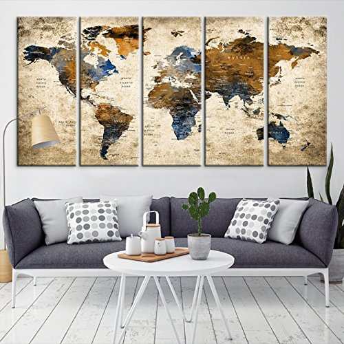 Blue Personalized Canvas (Modern Large Abstract GRUNGE Brown Dark Blue Wall Art World Map Canvas Print for Wall Decor - Wall Art Canvas Print for Home and Living Room Decor - Ready to Hang)
