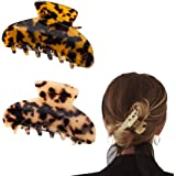 2pcs French Hair Claw Large Tortoise Hair Clips Barrettes Tortoise Shell Claws Luxury Fashion Vintage Accessories for Women G