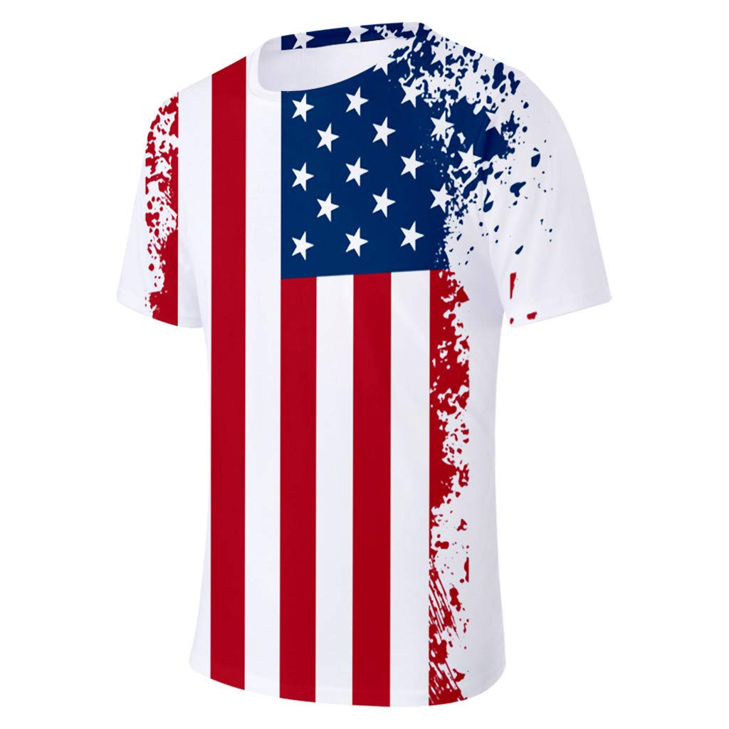 Men Short Sleeve T Shirts USA Flag Eagle Print Summer Casual Loose O Neck Comfort Blouse Tee Tops