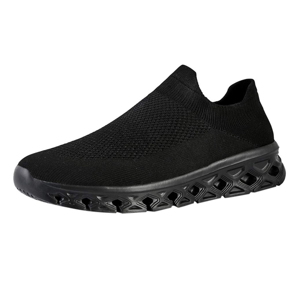 YKARITIANNA Men Solid Color Breathable Woven Lightweight Sneakers Low-Top Casual Socks Shoes Black