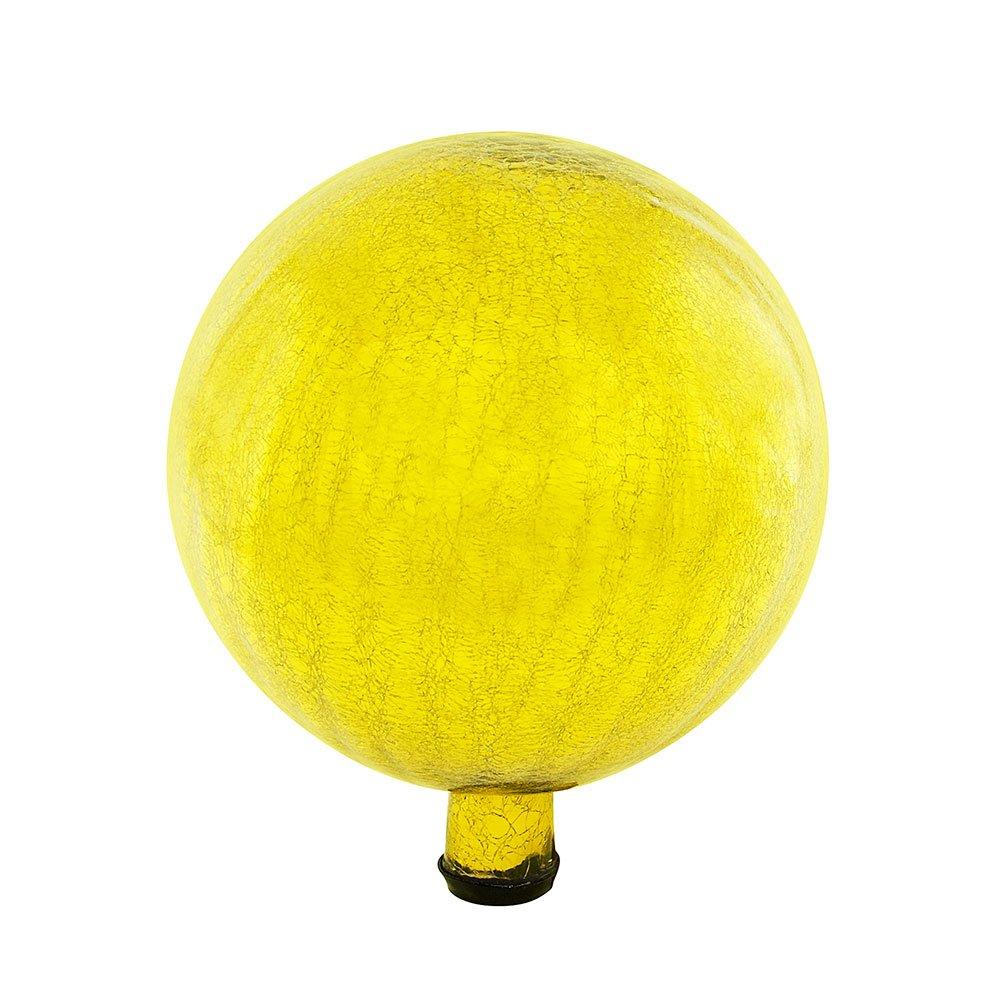 Achla Designs 12-Inch Crackle Gazing Globe Ball, Lemon Drop