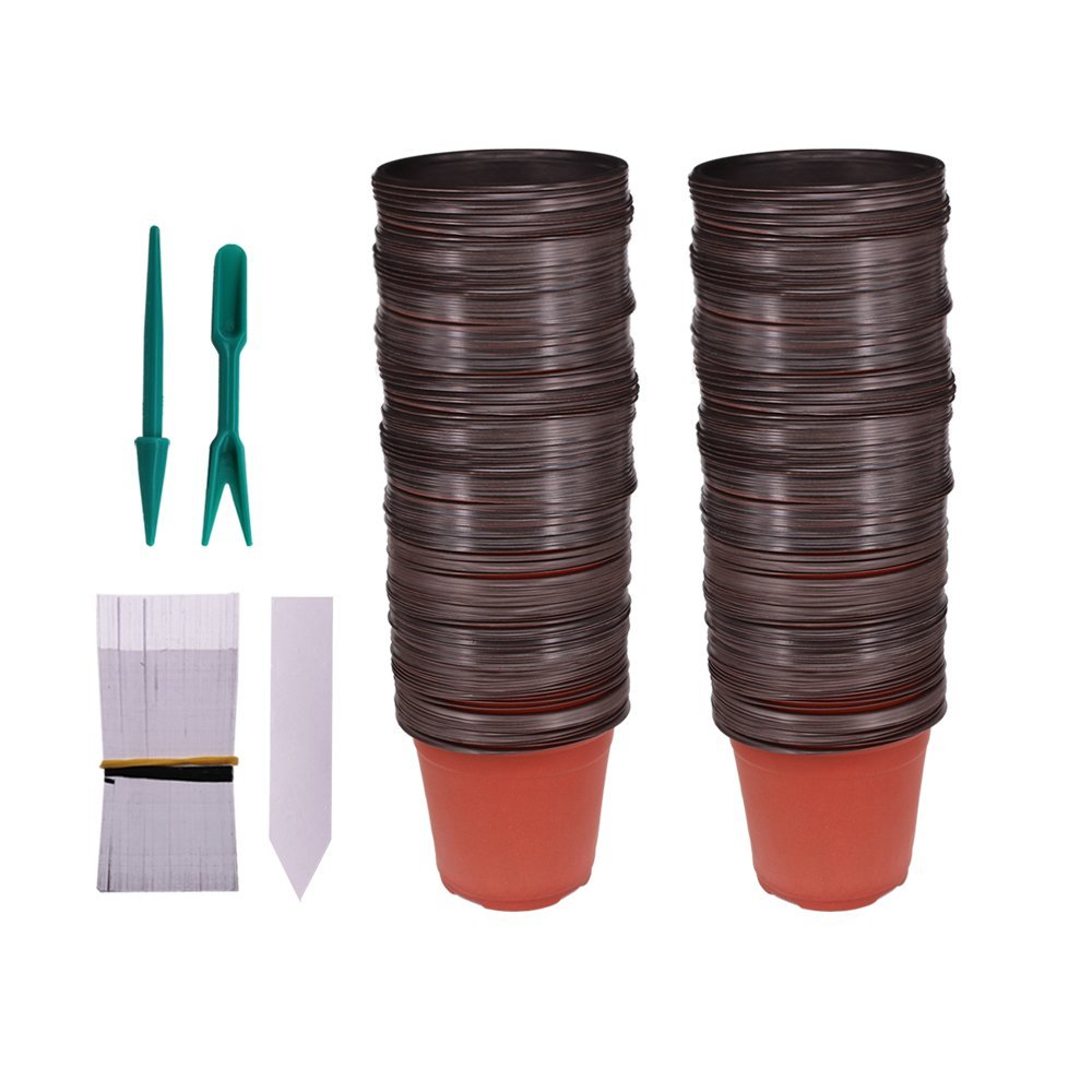Huvai 100 Pcs 4'' Plastic Seedlings Plants Nursery Pots with 100 Pcs Waterproof Plastic Plant Tags and 2Pcs/Set Transplanting Digging Mini Tools
