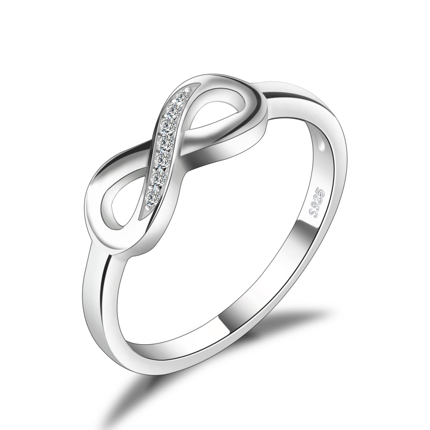 JewelryPalace Infinity Forever Love Cubic Zirconia Anniversary Promise Ring 925 Sterling Silver CA-AR850099
