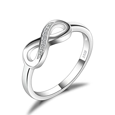 e73cf1234 JewelryPalace Infinity Forever Love Cubic Zirconia Anniversary Promise Ring  925 Sterling Silver Size L