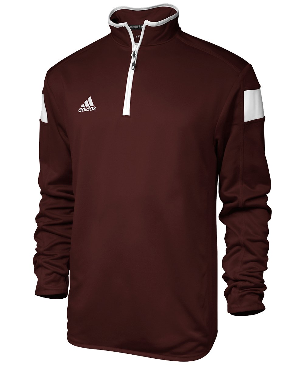 adidas climalite Shockwave 1/4 Zip Long sleeve, Maroon/White, Xx-Large by adidas