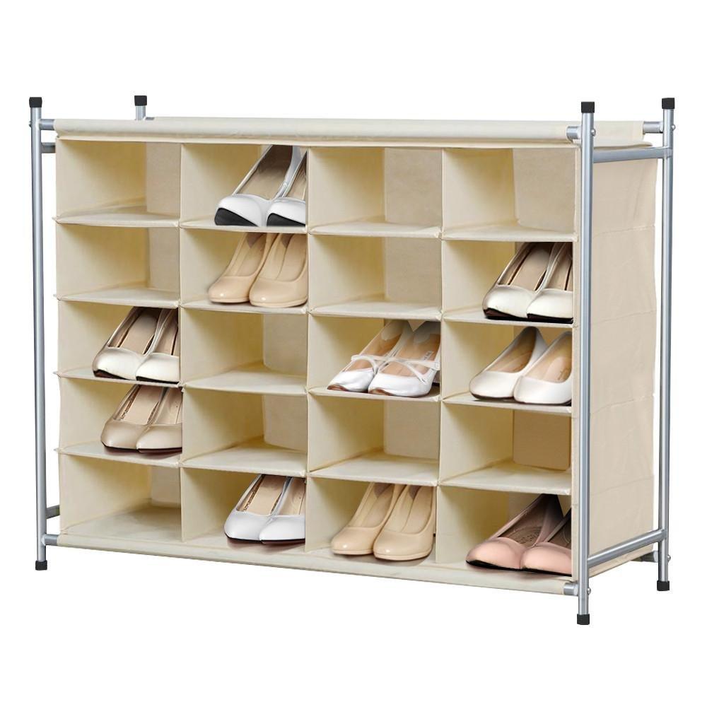 Yaheetech 5-Tier 20-Pair Shoe Rack,20-Compartment Nonwovens Cube Shoe Organizer Portable & Durable W/Larger Capacity-Beige