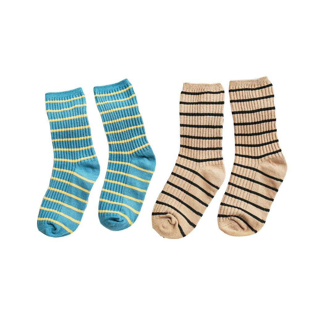 BAOBAO 2//4Pairs Toddler girls Stripes Ankle High Socks Cotton Crew Stockings