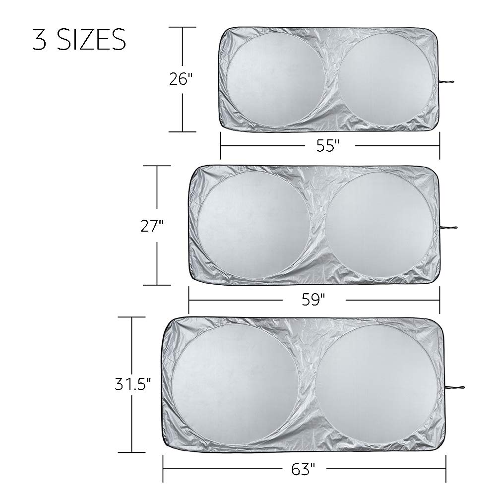 Basics Parasol para parabrisas delantero grosor de 0,1/mm plegable 140/cm x 66/cm con protecci/ón UV