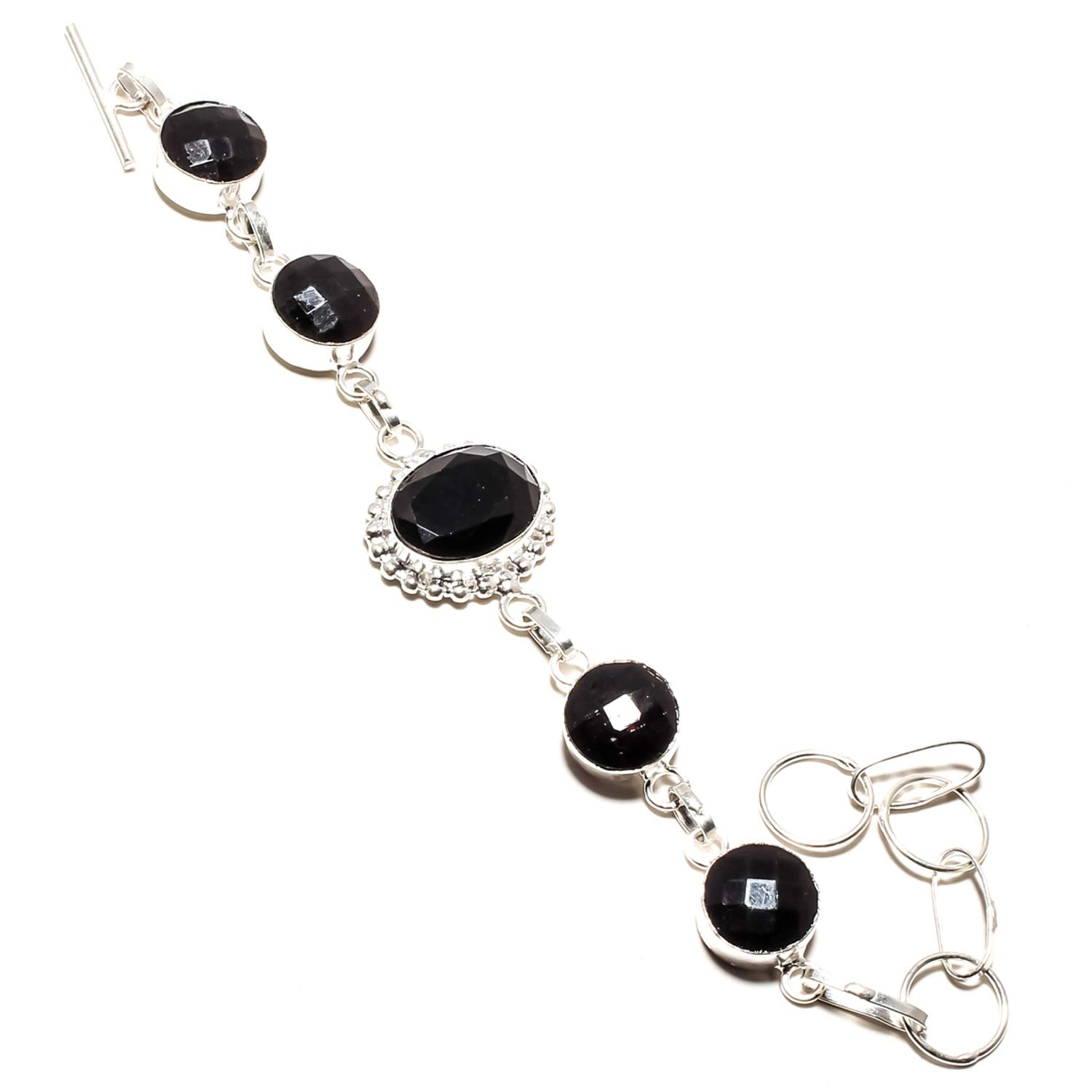 SF-1088 Faceted Black Onyx Gemstone Bracelet Handmade 925 Sterling Silver Plated Jewelry Adjustable and Flexible Length-Link Chain Bracelet