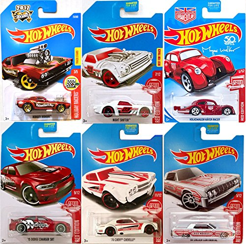Red Edition Hot Wheels Volkswagen Kafer Racer Die-Cast Pack '70 Chevy Chevelle / Night Shifter / '15 Dodge Charger SRT / Rodger Dodger / '64 Lincoln Continental Red Edition Exclusive Series