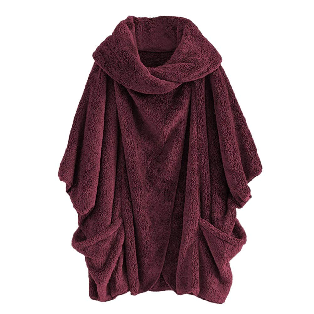 Women's Cardigans, Women Casual Solid Turtleneck Big Pockets Cloak Coats Vintage Oversize Coats ADESHOP