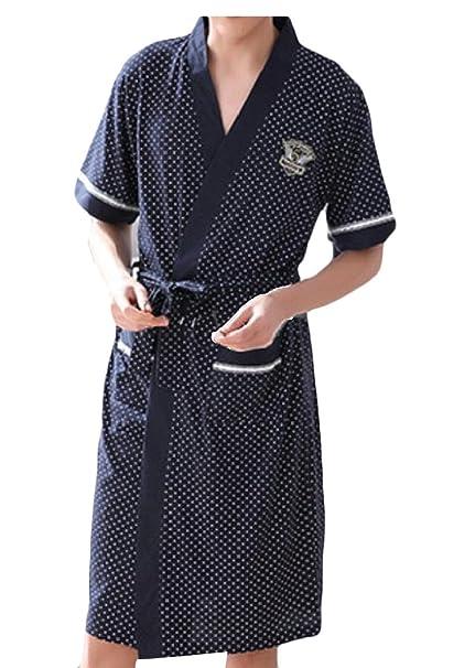 Jaycargogo Man Plus Size Short Sleeve Cotton Bath Robe Dressing Gown ...