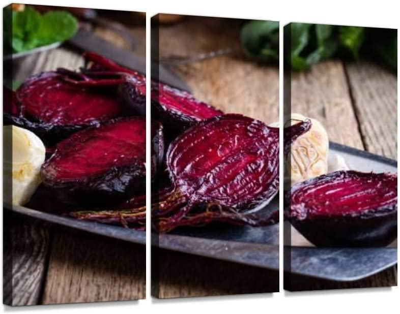 YKing1 Sliced Baked Beetroot on Rustic Outdoor Party Table Beetroot s and Wall Art Painting Pictures Print On Canvas Stretched & Framed Artworks Modern Hanging Posters Home Decor 3PANEL