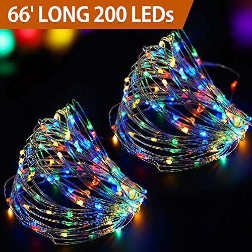 Bright Zeal 66 Long Festive LED Christmas String Lights Battery Operated with Timer - Multicolor LED Fairy Lights White Wire Multi Color - LED Outdoor String Lights Multicolored Battery Powered BZA
