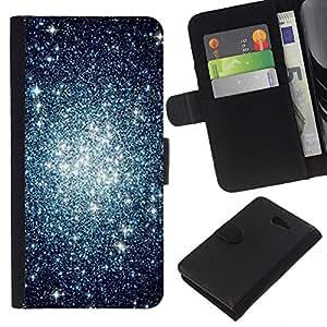 KLONGSHOP // Tirón de la caja Cartera de cuero con ranuras para tarjetas - espacio estrellas cielo cúmulo universo noche - Sony Xperia M2 //