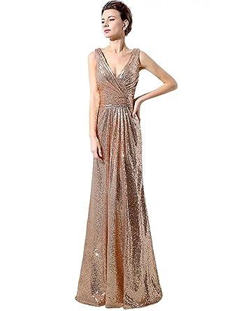 1a8a6a90808 LanierWedding Gold Sequins Bridesmaid Dresses Plus Size Prom Dresses 600  Rose Gold Size 2