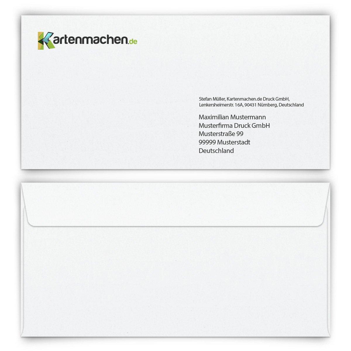 50 x Personalisierte Briefumschläge DIN Lang 220 x 110 mm - Weiß individuell bedruckt mit Logo B0757WXL59 | Perfekte Verarbeitung  | Reichhaltiges Design  | Spaß