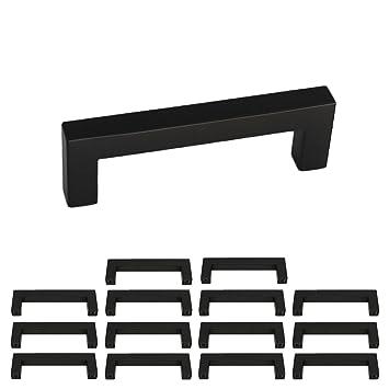 Tiradores de acero inoxidable con diseño cuadrado, color negro, para muebles, cocina, armarios, cajones, LSJ12BK
