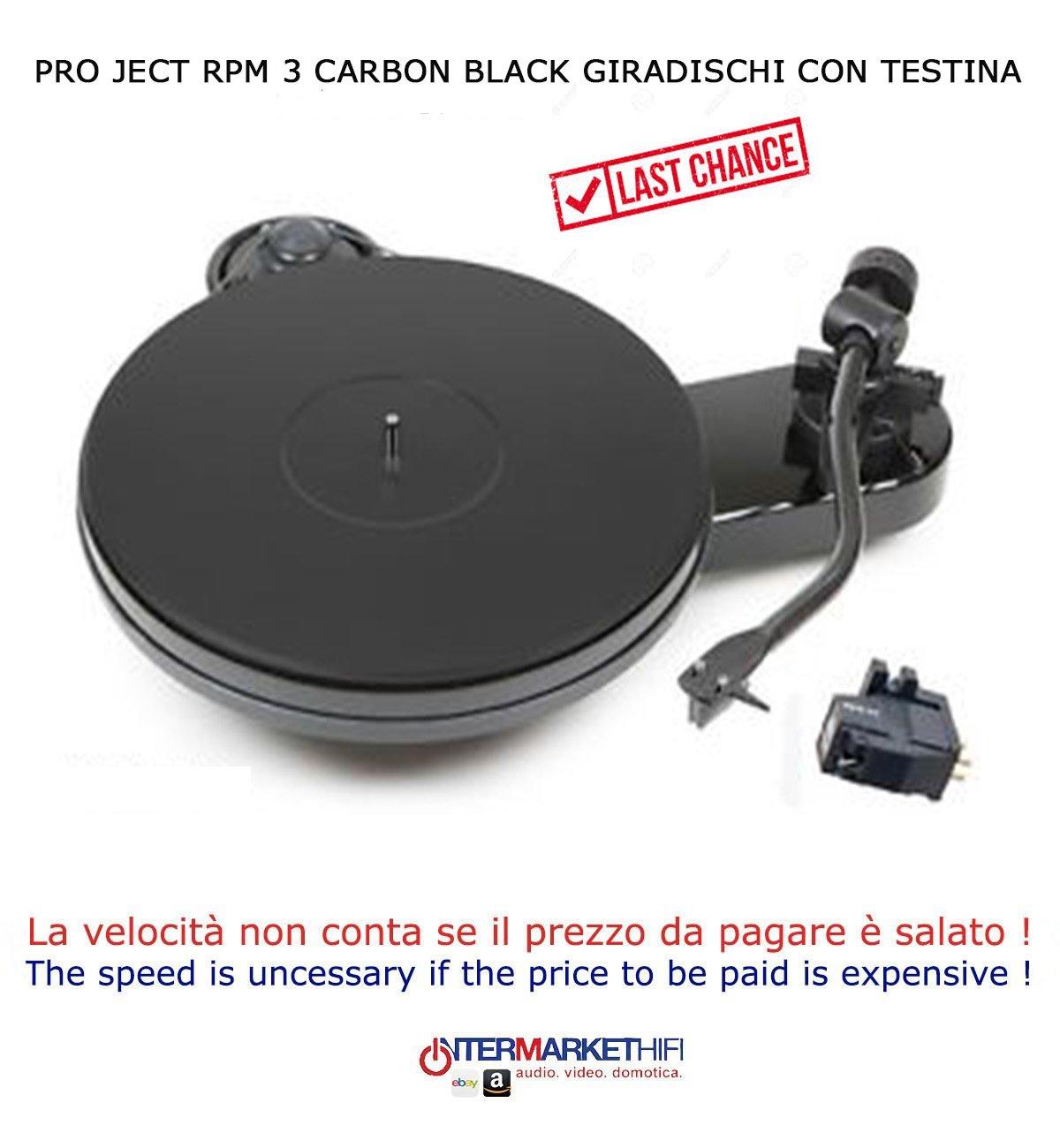 Pro-Ject RPM 3 Carbon Black Tocadiscos con cabezal: Amazon ...