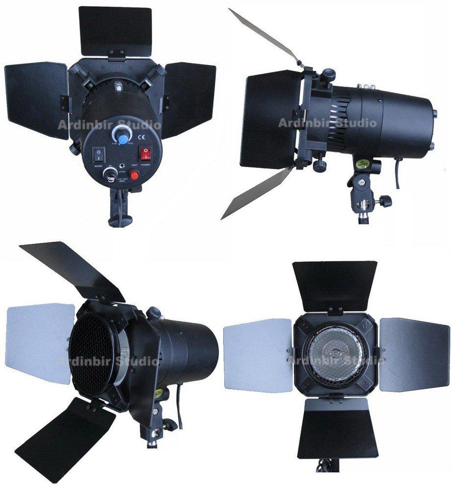 Ardinbir Studio Photo 640w 5600K DayLight Video Slave Master Strobe Monolight Flash Light Stand Kit with Dimmer Control and Barndoor