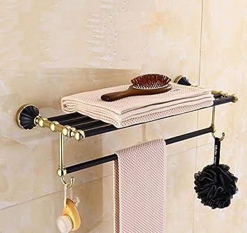 ZHFC Negro de acero inoxidable baño baño toalla estante doble toalla Bar gama alta baño accesorios