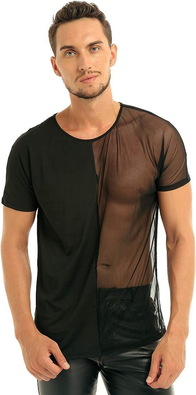 AWEIDS Herren Unterhemd Transparent T-Shirt Langarm Tops Nachtw/äsche