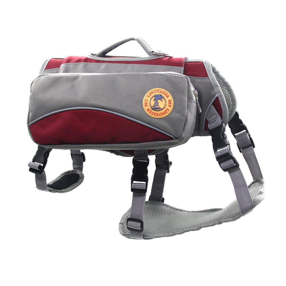 Red Large Red Large Pet Backpack Harness Hiking Saddle Bags,Harness Reflective Detachable Pet Backback,Adjustable Dog VestTravel Hiking Camping