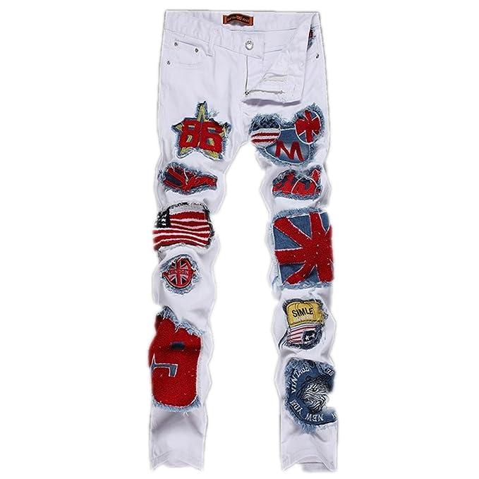 Los hombres agobiados reparada Diseñador Jeans decorados ...
