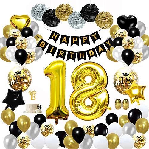 MMTX 18 Globos Cumpleaños Decoracione Oro Negro, Happy Birthday cumpleaños, Pompones de Papel, Globos de Papel de Oro para Hombres y Mujeres Adultos ...