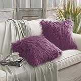 Purple Throw Pillows PHANTOSCOPE Set of 2 Decorative New Luxury Series Merino Style Fur Throw Pillow Case Cushion Cover 18