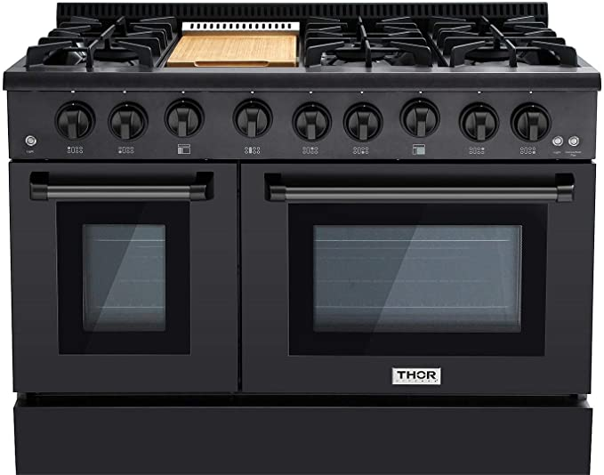 Thor 48 Gas Range Professional Kitchen Style Natural Gas, Propane Optional  Black Stainless Steel