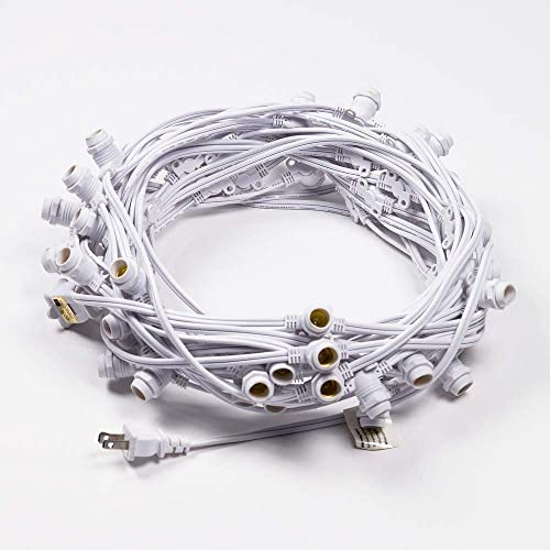 Fantado Cord Only 50 Socket Outdoor Commercial DIY String Light 54 FT White Cord w E12 C7 Base, Weatherproof