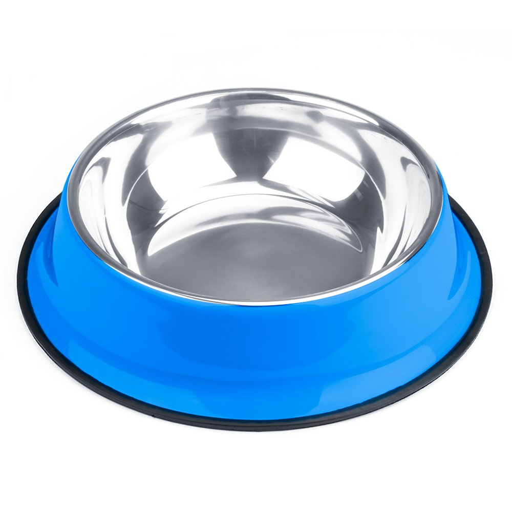 Weebo Pets Blue No-Tip No-Slip Stainless Steel Bowl (72oz. Goliath)