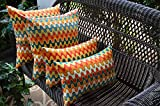 Resort Spa Home Decor Set of 4 Square Rectangle Geometric Flame Stitch Red Orange Teal Outdoor Pillows