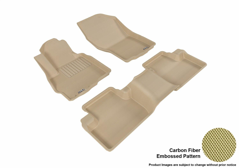 L1MT03611502 Kagu Rubber Tan 3D MAXpider Front Row Custom Fit Floor Mat for Select Mitsubishi Outlander Sport Models