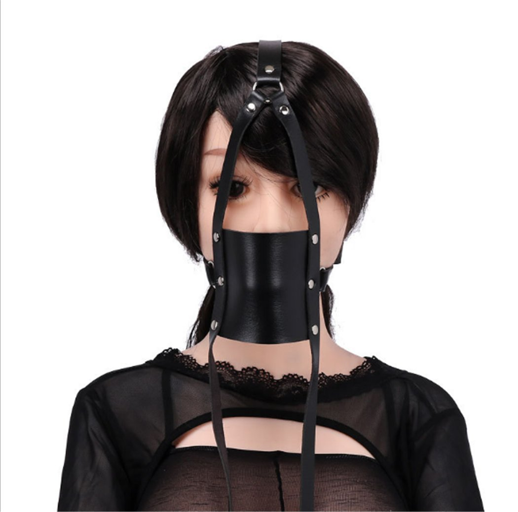BogddyCOS Ecommerce Open Mouth Blindfold Faux Leather Plug Funny Gag Masquerade Role Play Costume Accessory Hollow