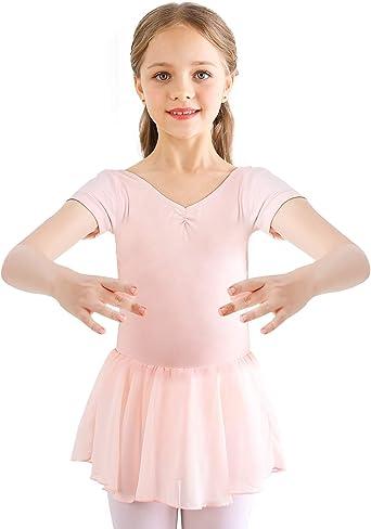 Gr/ö/ße 92-170 Betty - aus extra weichem Baumwollstoff mit Glitzersteinen und Chiffon R/öckchen f/ürs Kinder Ballett tanzmuster /® Ballettkleid M/ädchen Kurzarm