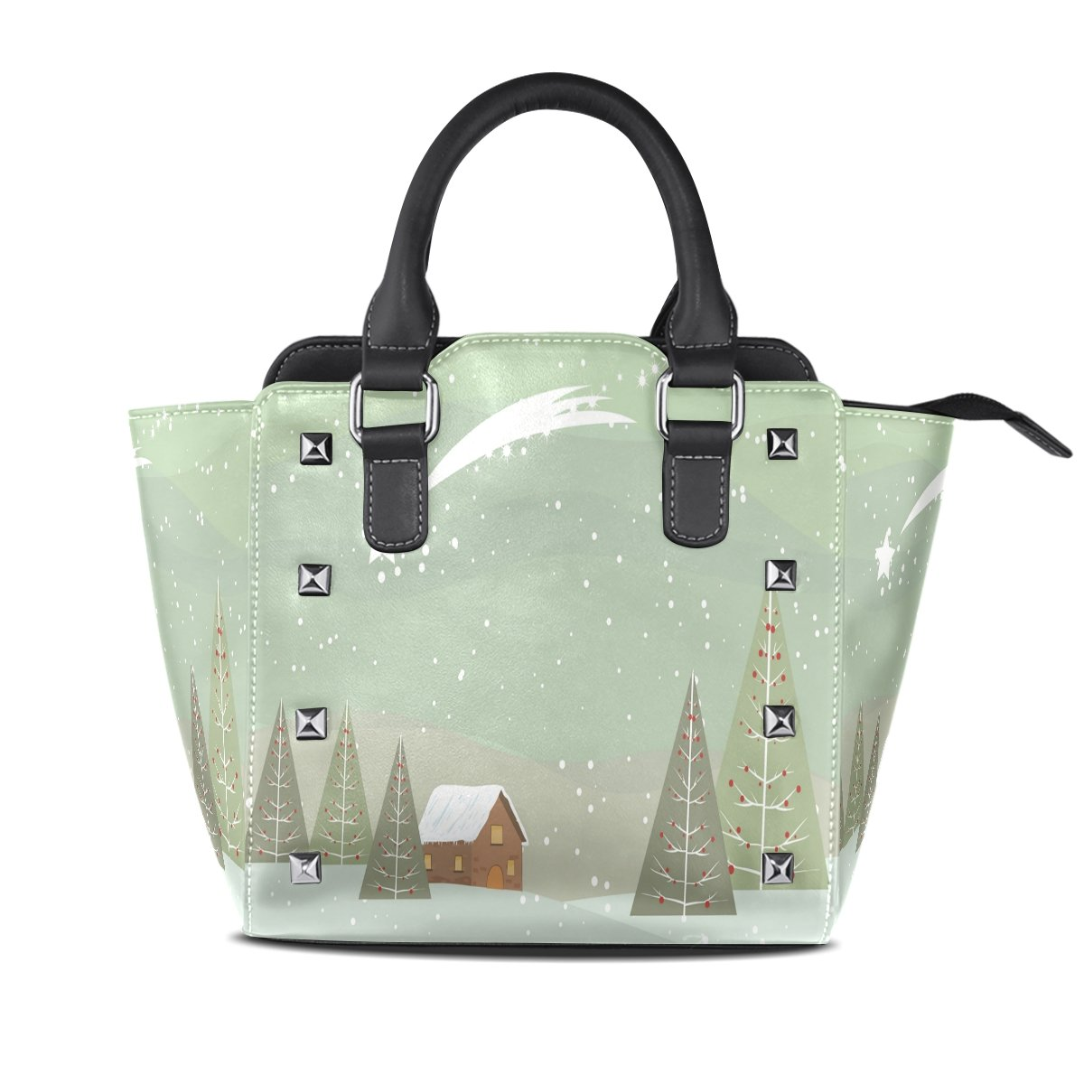 Ladies Tote Bags Christmas Tree House Womens Genuine Leather Totes Hangbags Shoulder Bags