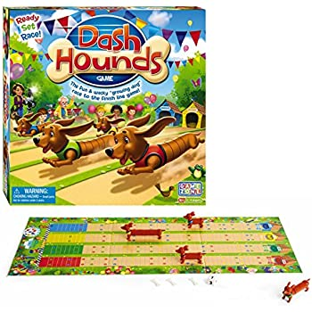 International Playthings Game Zone Dash Hounds Board Game - A Fast Paced Dog Race With a Twist - First Tail to Cross the Finish Line Wins!  Ages 4+